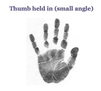 large thumb but held in, small thumb angle