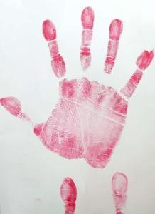 lipstick handprint